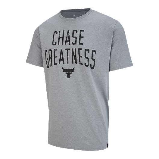 NEW Under Armour The Project Rock UA Tshirt CHASE GREATNESS White