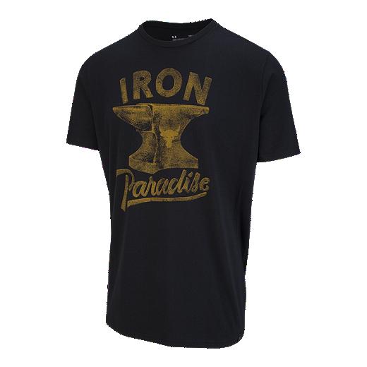 4b5e96ff5 Under Armour Men s Project Rock Iron Paradise T Shirt - BLACK STEEL TOWN  GOLD