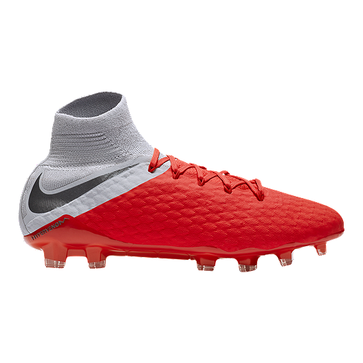 0c43786b687b Nike Men s Hypervenom Phantom III Pro DF FG Soccer Cleats - Red Grey ...