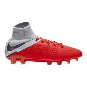 Nike Men s Hypervenom Phantom III Pro DF FG Soccer Cleats - Red Grey f5b5ad6e02