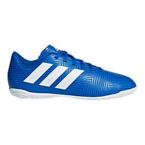adidas Boys' Nemeziz Tango 18.4 Indoor Grade School Soccer Shoes - Football Blue/White