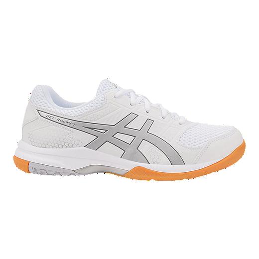 d73bf6fef0 ASICS Women's GEL-Rocket 8 Indoor Court Shoes - White/Silver | Sport ...
