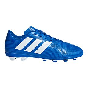 5b0151824024 adidas Kids' Nemeziz 18.4 Grade School Firm Ground Soccer Cleats -  Blue/White/