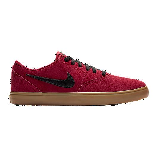 d98c73c621030 Nike SB Men's Check Solar Suede Skate Shoes - Red/Black/Gum   Sport Chek