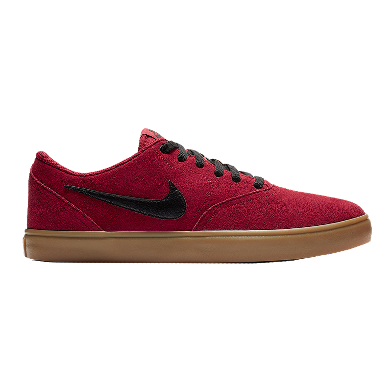 3401381ad Nike SB Men s Check Solar Suede Skate Shoes - Red Black Gum