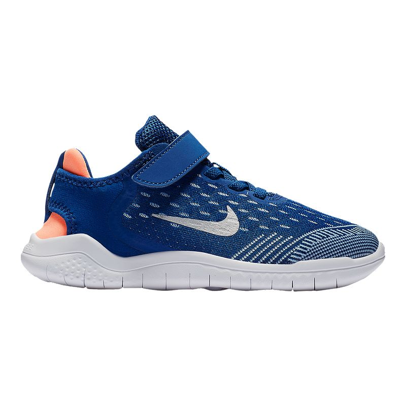 8acda2db5905 Nike Girls  Free Run 2018 Preschool Shoes - Blue Silver Orange (191884559286