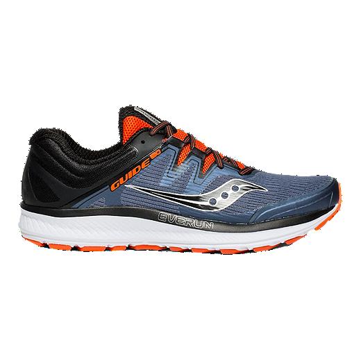 Saucony Men's Everun Guide ISO Running Shoes GreyBlackOrange