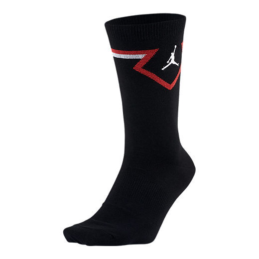 5ec0793716a Nike Men's Jordan Legacy Diamond Crew Sock - BLACK/UNIVERSITY RED/WHITE