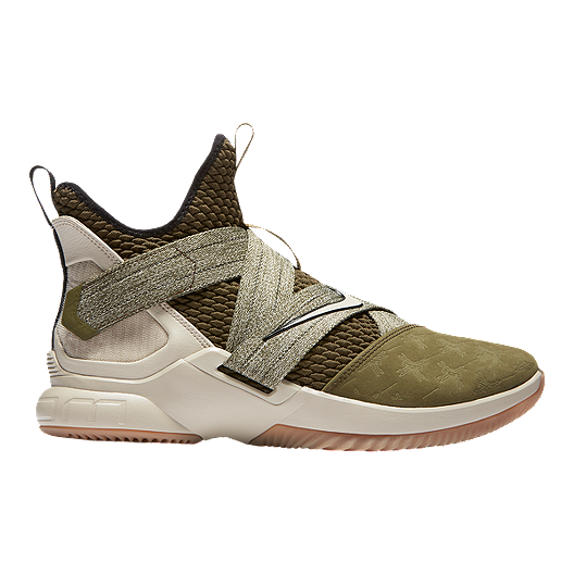 51fc4a33fd3 Nike Men s LeBron Soldier XII Basketball Shoes - Olive Canvas Gum ...