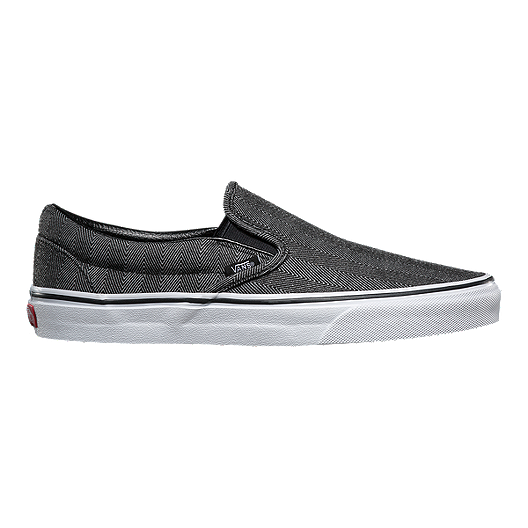 41a451347d Vans Men s Classic Slip-On Shoes - Herringbone Black White