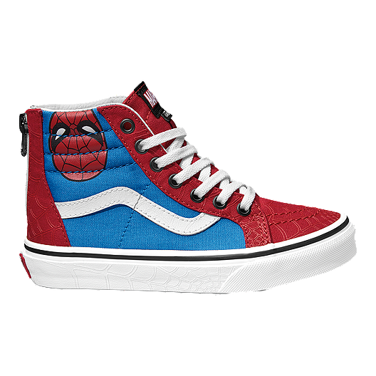 8c7219afc6 Vans Kids  Sk8-Hi Zip Marvel Spiderman Preschool Shoes - Red White ...