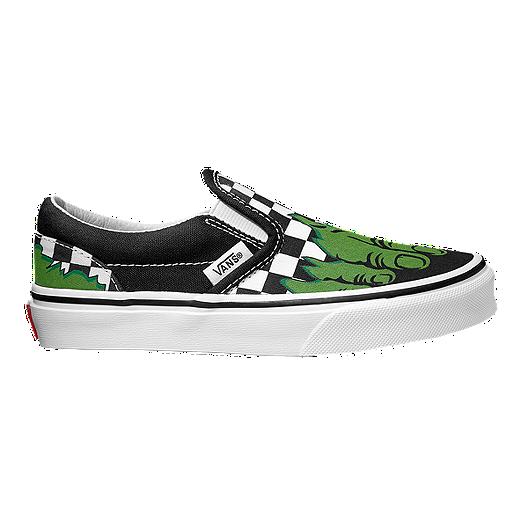 3913034c77 Vans Kids  Classic Slip-On Marvel Hulk Preschool Shoes - Green Black ...