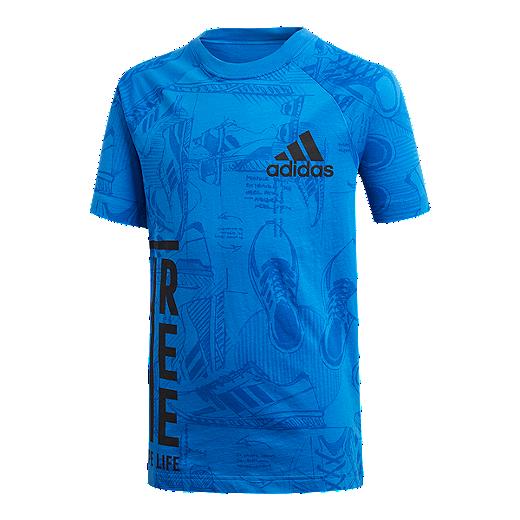 91d8b463f76 adidas Boys' ID Print T Shirt - BLUE / COLLEGIATE NAVY