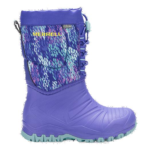 f4077a78 Merrell Girls' Snow Quest Lite WP Preschool Winter Boots - Purple/Print