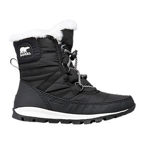 pretty nice bab1d 4fc9c Sorel Girls  Whitney Short Lace Winter Boot - Black Sea Salt