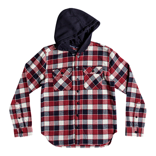 390ae045d DC Boys' Runnels Long Sleeve Hooded Flannel Shirt | Sport Chek