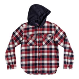 DC Boys' Runnels Long Sleeve Hooded Flannel Shirt