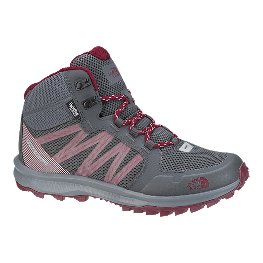 8113887de The North Face Women's Litewave Fastpack Mid Hiking Boots - Grey/Red