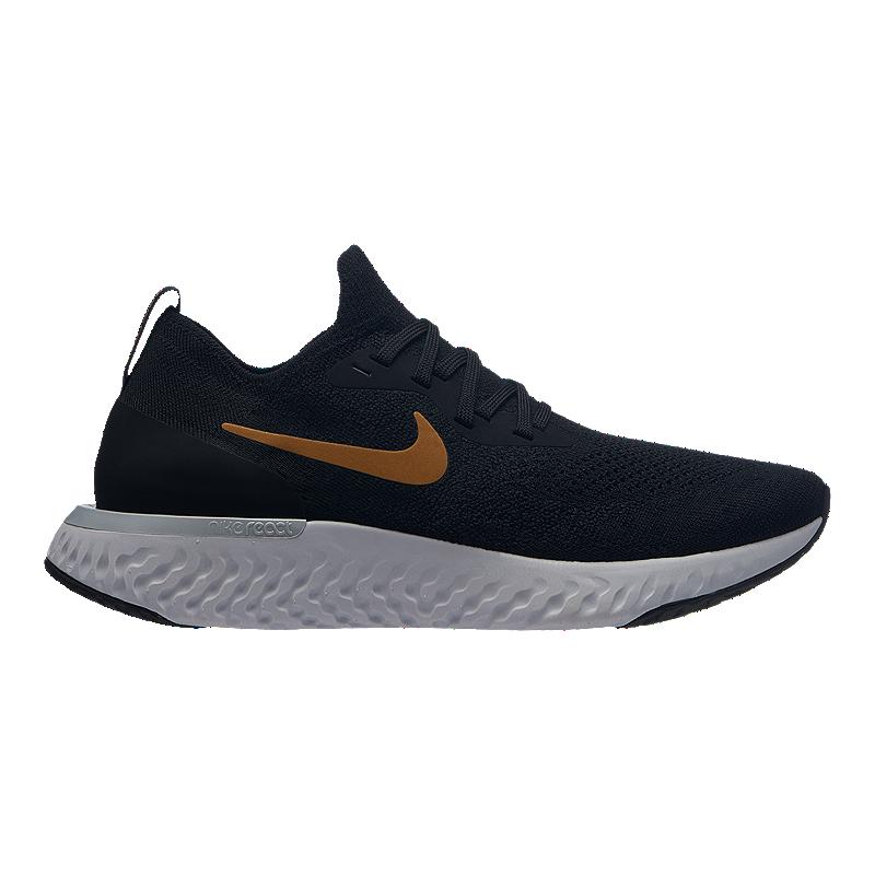 e8bdeeeec634bb Nike Women s Epic React Flyknit Running Shoes - Black Metallic Gold ...