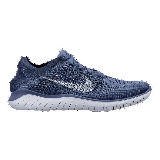d87604b76 Nike Men s Free RN Flyknit 2018 Running Shoes - Blue Grey