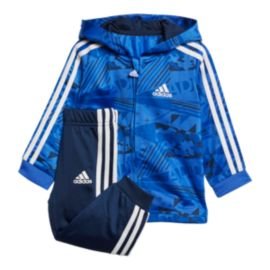 adidas Toddler Shiny Full Zip Hooded Jacket & Track Pants Set