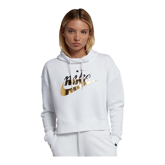 15a8ec0b6b7c Nike Sportswear Women s Metallic Graphic Pullover Hoodie
