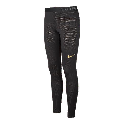 93d4e04c7 Nike Pro Women s Metallic Dots Printed Tights - BLACK METALLIC GOLD