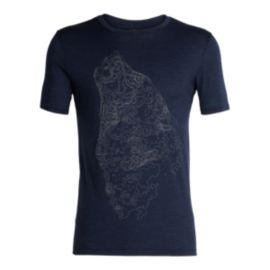 Icebreaker Men's Tech Lite Contour Wolf T Shirt - Navy