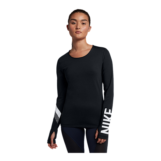39942231ae397 Nike Pro Women's Warm Stripe Graphic Long Sleeve Shirt | Sport Chek