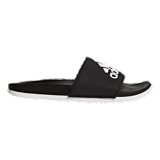 a48d0122390d0b adidas Women s Adilette Cloudfoam Plus Logo Slides - Core Black ...