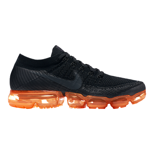 7ea63c5c822 Nike Men s Air VaporMax Flyknit Running Shoes - Black Orange Pop ...