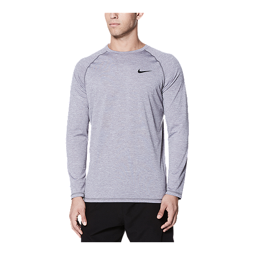 a783c137 Nike Men's Solid Heather UPF Long Sleeve Hydroguard - Gunsmoke - 071  GUNSMOKE