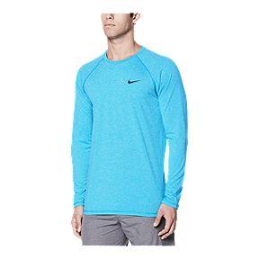 cee23f09d Nike Men's Solid Heather UPF Long Sleeve Hydroguard - Blue