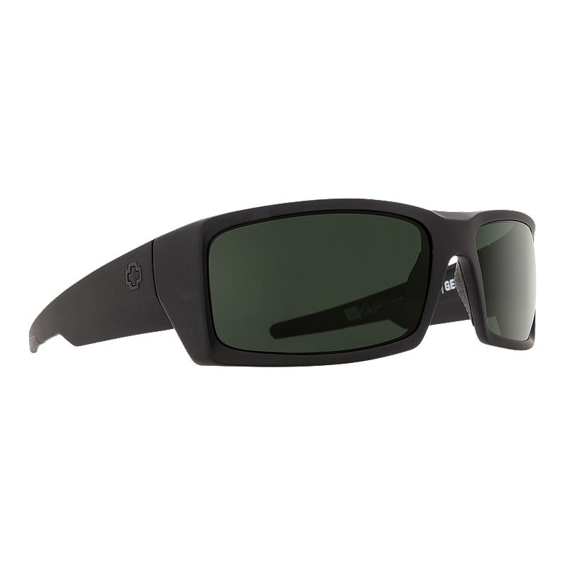 Image of Spy General Sunglasses - Soft Matte Black with Happy Gray Green Polarized Lenses
