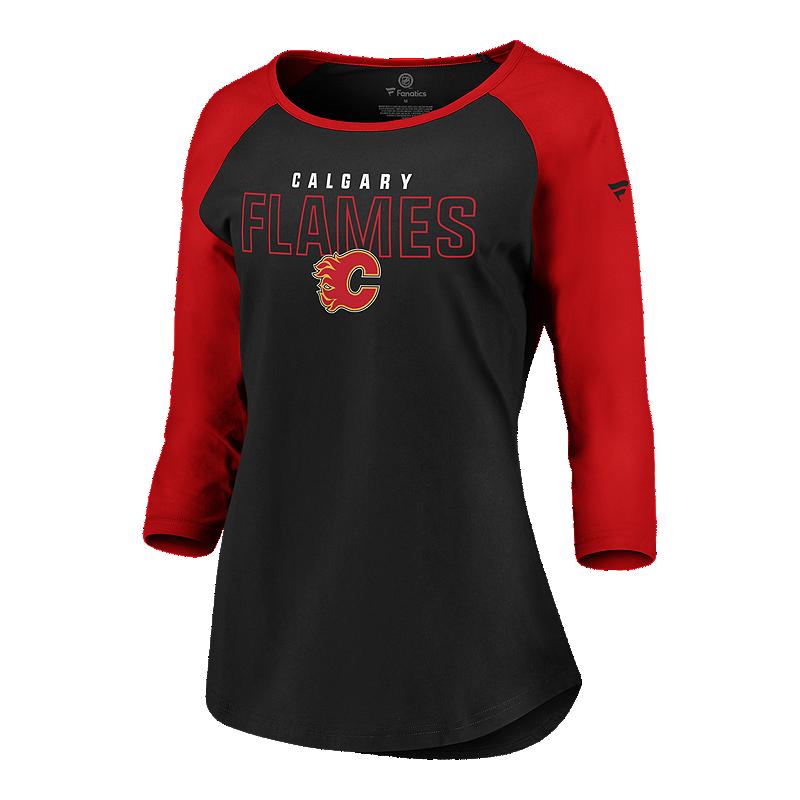 buy online 089cc 9764a Calgary Flames Fanatics Women's Iconic 3/4 Raglan Tee