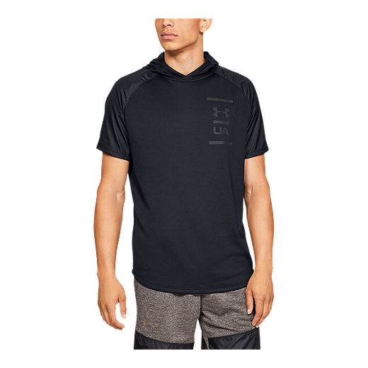 db8627e6dca7 Under Armour Men's MK1 Terry Short Sleeve Hoodie - BLACK/PITCH GRAY