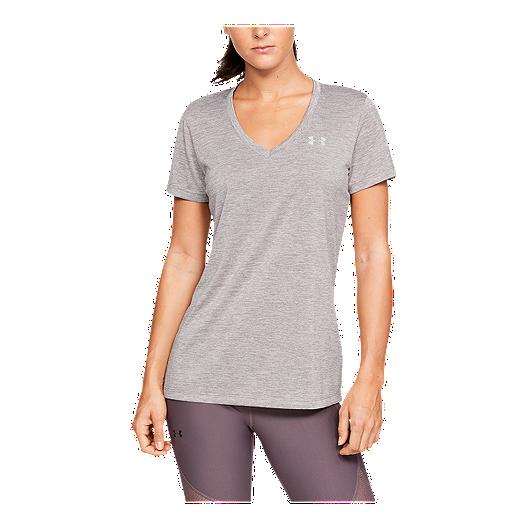 d625574e87 Under Armour Women's Tech Twist V-Neck T Shirt - Tetra Grey
