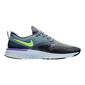 new product c3c92 b9fa5 Nike Mens Odyssey React 2 Flyknit Running Shoes - BlueLimeBlack