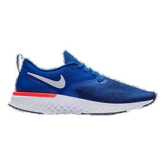 35e0167f9ede Nike Men s Odyssey React 2 Flyknit Running Shoes - Navy White Blue ...