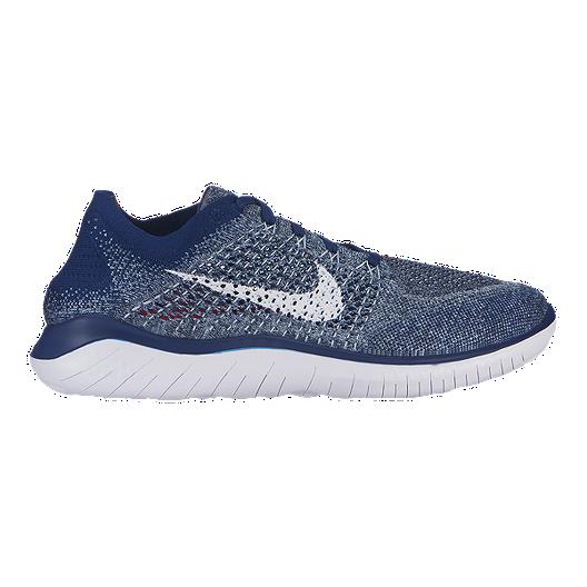 Fashion 2018 Men's NIke Free Run Flyknit Cushioning Running Sports shoes Dark Blue Royal Blue