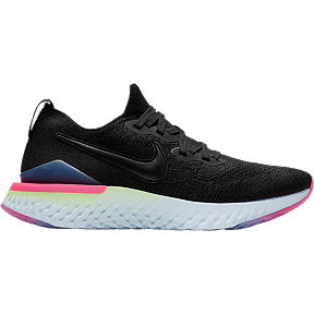 Nike Women's Epic React Flyknit 2 Running Shoes - Black/Sapphire/Lime