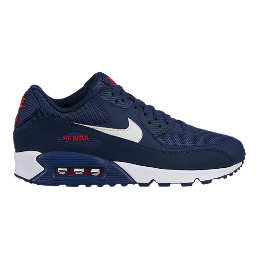 uk availability 56d2a 0a199 Nike Men s Air Max 90 Essential Shoes - Midnight Navy White University Red -