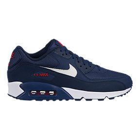 low priced f7dec 55a83 Nike Men s Air Max 90 Essential Shoes - Midnight Navy White University Red