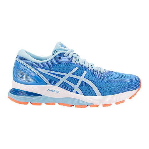 8d40727bab5 ASICS Women s Gel Nimbus 21 Running Shoes - Blue White - BLUE COAST SKYLIGHT