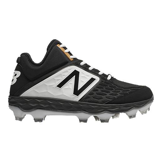 c7d1f2a46 New Balance Men s PM3000 V4 D Mid TPU Baseball Cleats - Black White - BLACK