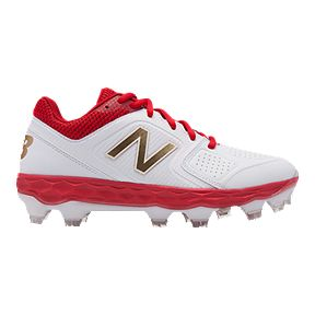 8c5c904d5 New Balance Women s FF Velo 1 TPU Baseball Shoes - White Red Gold