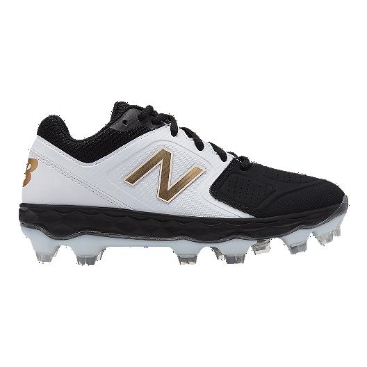 5df1ef0f4cb New Balance Women s FF Velo 1 TPU Baseball Cleats - White Black Gold ...