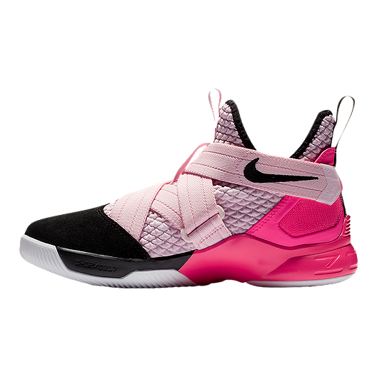 f4ad2be7f4a Nike Boys  Lebron Soldier XII Grade School Basketball Shoes - Pink Foam  Black White