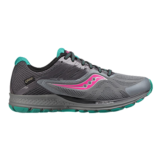 Saucony Ride 10 GTX Running Shoe GreyBluePink Women Shoes