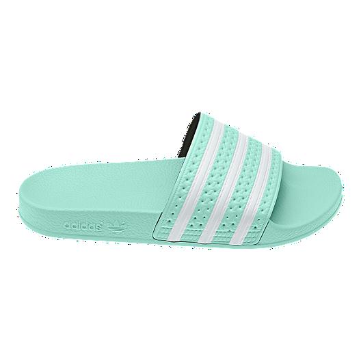 adidas Women's Adilette Slides Clear MintWhite